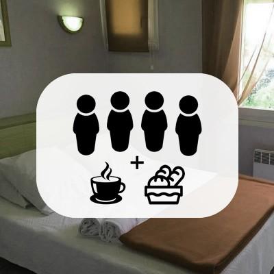 Chambre Quadruple avec 4 petits déjeuner